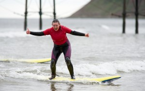 surfing at Saltburn By The Sea
